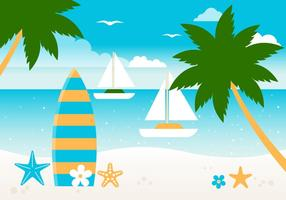 Free Flat Summer Beach Vector Background