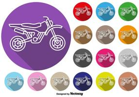 Botões coloridos do vetor do ícone da motocicleta do motocross