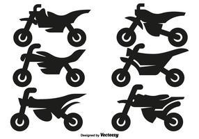 Iconos de la motocicleta del motocrós del vector