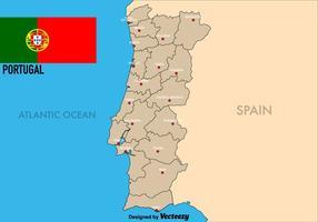 Vector Portugal mapa con las regiones
