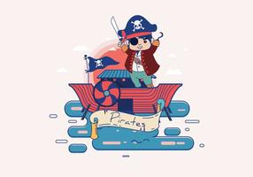 Pirate Banner with Caracter Vector