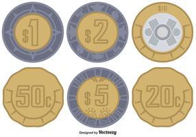 Conjunto de moedas de peso do vetor mexicano
