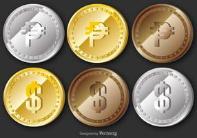 Vector Peso Coins Set