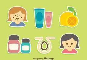 Vettori di elementi di dermatologia di buona cura della pelle