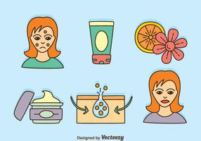 Hand Drawn Skincare Element Vectors