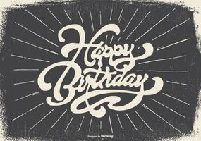 Vintage Typographic Happy Birthday Illustration
