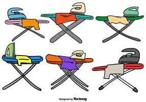Vector Doodle Ironing Table Color Icons