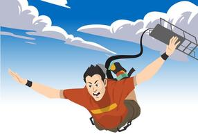 Man Bungee Jumping Vector Illustration