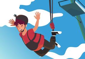 A Man Bungee Jumping Vector