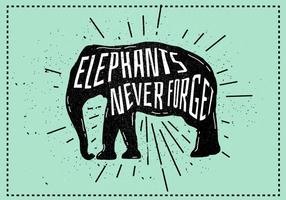 Free Vector Elephant Silhouette Illustration With Typography