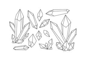 Free Crystals Shape Line Vector