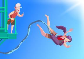 Bungee Jumper from Bridge Vector