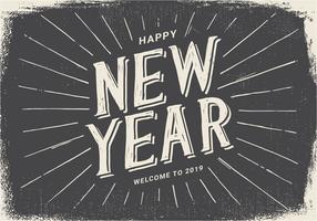 Vintage Style Happy New Year 2019 Illustration
