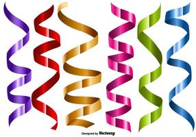 Vector Set Of Metallic Color Streamers