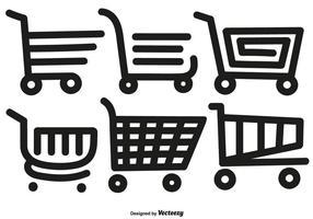 Icone disegnate a mano del gatto del supermercato di stile della linea di vettore
