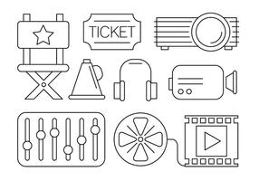 Free Cinema Icons in Linear Style