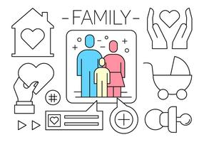 Linear Family Icons vector