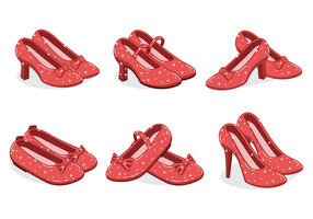 Ruby Slippers Vector With Sparkly Effect