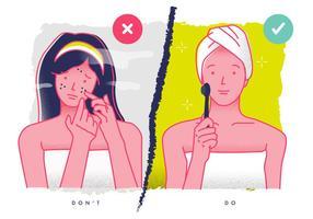 Cuidados com a pele Tratamento Termos Ilustração vetorial