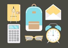 Elementos escolares de vetores de design plano gratuitos
