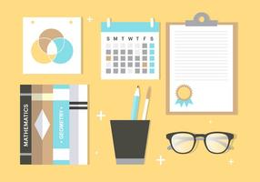 Free Flat Design Vector School Accessories