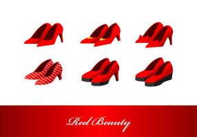 Red Beauty High Heels Vector