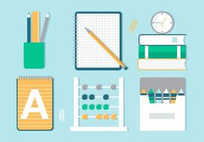Free Flat Design Vector Back to School Icons