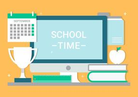 Free Flat Design Vector School Time