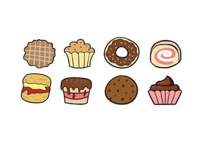 Iconos de cookies y pastel vector