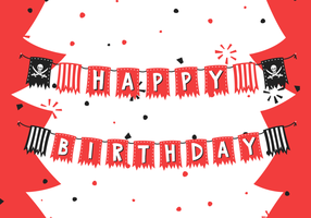 Birthday Pirate Banner Free Vector Illustration