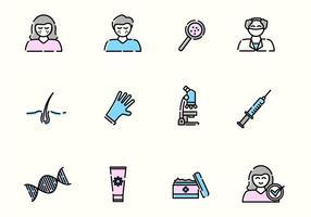 Iconos de vectores de dermatología