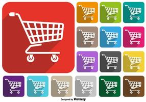 Vector Set Of Supermarket Cart Icon Colorido Botões
