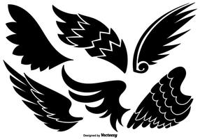 Vector Set Of Angel Wings Icônes noires