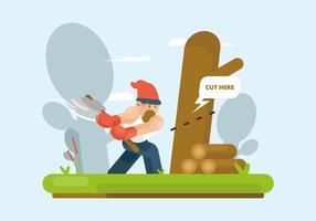 Lumberjack Cutting Tree Illustration