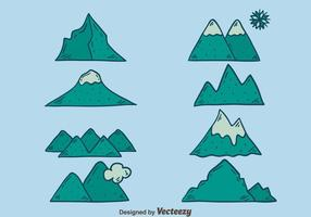 Hand Drawn Mountain Icons Vectors