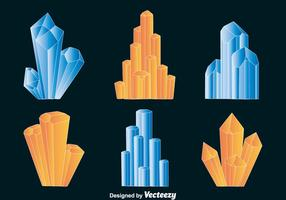 Vetores de quartzo azul e laranja
