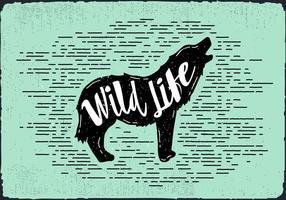 Gratis Vektor Wolf Silhouette Illustration Med Typografi
