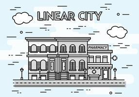 Sfondo vettoriale di città lineare gratis