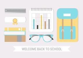 Libere el vector plano del diseño de nuevo a Tarjeta de felicitación de la escuela