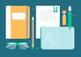 Gratis Flat Design Vector Terug naar school Essentials