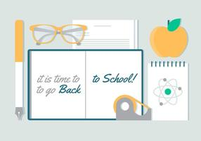 Vector Design piatto gratuito Torna a scuola elementi