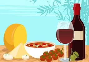 Wine And Cheese Appetizer Vector