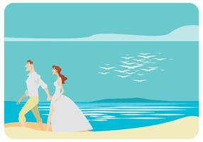 Young Wedding Couple Walking on The Beach Vector
