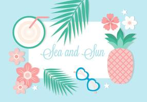 Free Flat Design Vector Summer Background