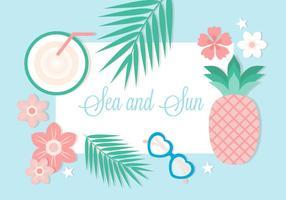 Free Flat Design Vektor Sommer Hintergrund