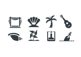 Beach wedding vector icons