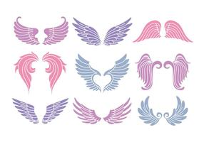 Set Of Cute Angel Wings vector