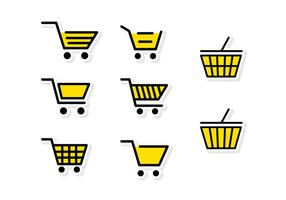 Flat Yellow Supermarket Cart vector