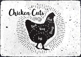 Vetor de diagrama de corte de frango