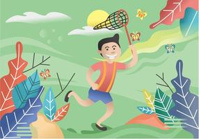 Boy Catching Butterflies Illustration